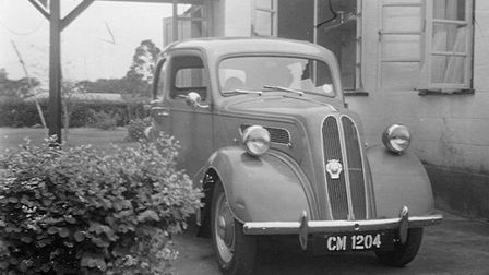 Keith Hirst's parents with their Ford Popular in the then United Kingdom Trust Territory Cameroons i