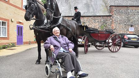Lily Simpson from Thetford celebrated her birthday with a ride around the town in a horse and carria