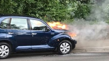 The car fire in King's Lynn today. Picture: Norfolk Constabulary