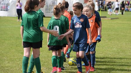 Action from the 2017 Sprowston Football Club Tournament (girls). Sprowston Harriers (blue) against H