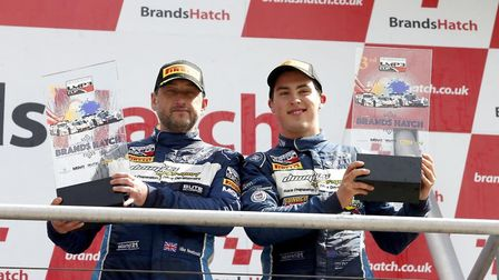 Thomas Randle (right) and Mike Newbould after their podium finish in the LMP UK Cup. Picture: Thomas