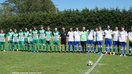 The teams lining up for theGary Knights second annual memorial match at Caxton Meadow. Picture: Sh