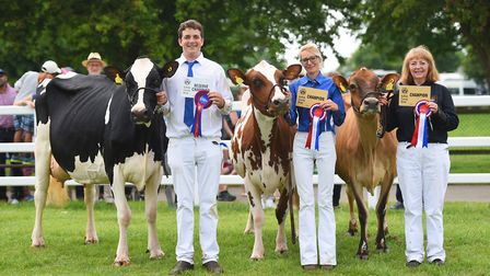 Dairy champions, left to right, John, Louise and Christine Smith. Picture: GREGG BROWN