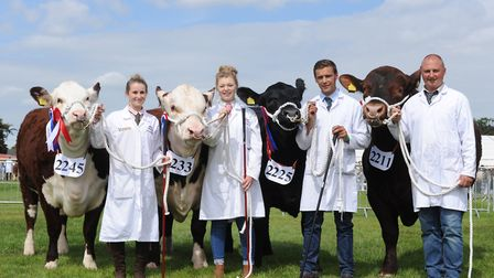 The Shadwell Estate celebrating their award success on the first day of the Suffolk Show. L-R Heidi