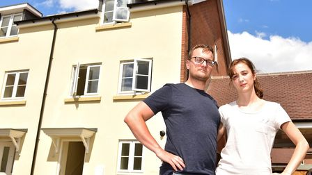James and Rachel Hipperson have bought a new homein Cringleford that remains unfinished.Picture: N