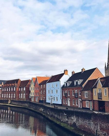 Norwich, with the Cathedral in the background. Photo: @sophie_perdita