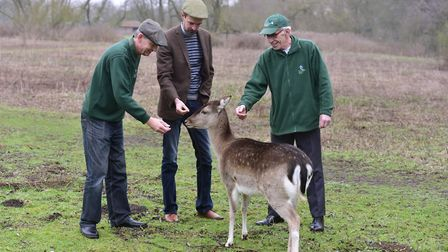 Ben Potterton (centre) will lead a walk and talk at the new Earsham Wetland Centre. He is pictured