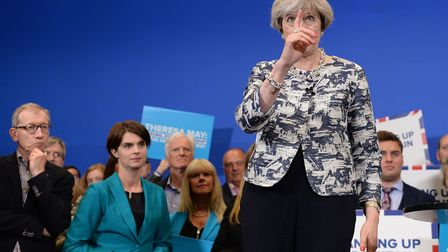 Prime Minister Theresa May speaking at an event at The Space in Norwich while on the General Electio