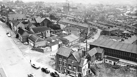 Ber Street showing the clearance area with Mariners Lane running down the hill. The majority of buil