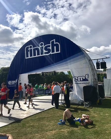 Mark Armstrong cuts an exhausted figure at the end of the Edinburgh Marathon - is he ready to do it