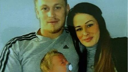 Daniel Minton and Tory Smith with their baby. Picture: Submitted by Norfolk Police.