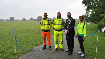 The granite running track was installed at Laundry Lane Recreation Ground by Eurovia - the contracto
