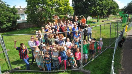 Parents, children and supporters at King's Head Meadow last year, after a fence was put up. PHOTO B