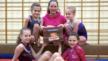 Alexis Thurston (centre) of the North Walsham Gymnastics club. Pictured with Amy Mann, Layla Terry,