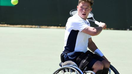 Alfie Hewett in action for Great Britain's men's team at the BNP Paribas World Team Cup in Sardinia