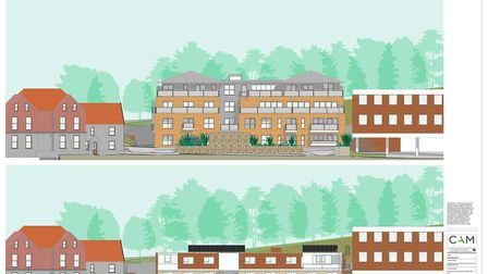 The design for the new flats on Yarmouth Road (above), and the existing office (below). Photo: CAM A