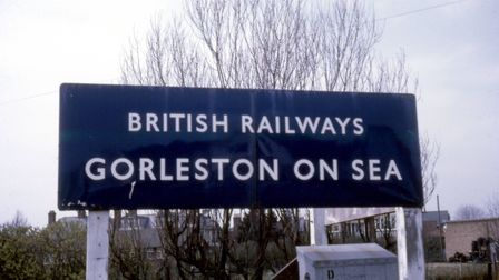 The sign which greeted travellers outside Gorleston station; it had two sides in V shape so it could