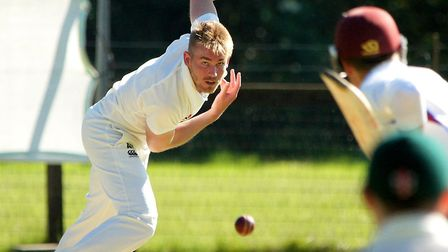Great Witchingham's Andy Hanby in full flight against Swardeston. Picture: Tim Ferley