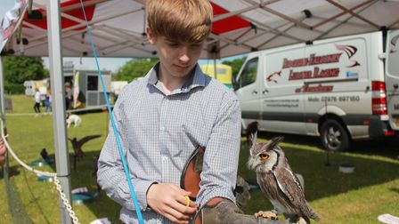 Cameron Hall with Alfie the Scops owl, one of the many attractions at the annual North Norfolk Count