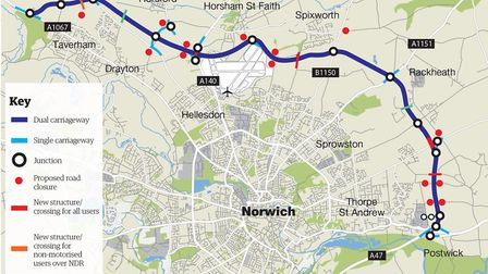 The route of the Norwich Northern Distributor Road.