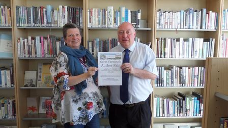 David Merrifield with Lowestoft librarian Jo Wilde who are staging Yarmouth's first author fair. Pho