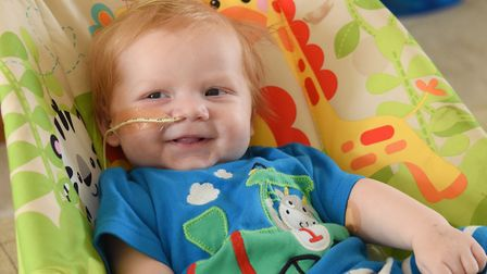Henry Vinen, 11-weeks-old, who has been diagnosed with severe combined immunodeficiency, at his home