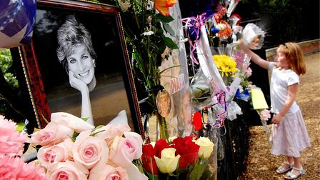 Floral tributes in memory of Princess Diana on the Norwich Gates at Sandringham after her death. Pic