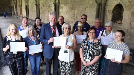 Volunteers were presnted with certificates by Norwich Sheriff James Bagge. Photo: NSFT