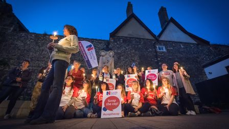 Nurses, healthcare assistants and supporters from across Norfolk gathered at the Edith Cavell Memori