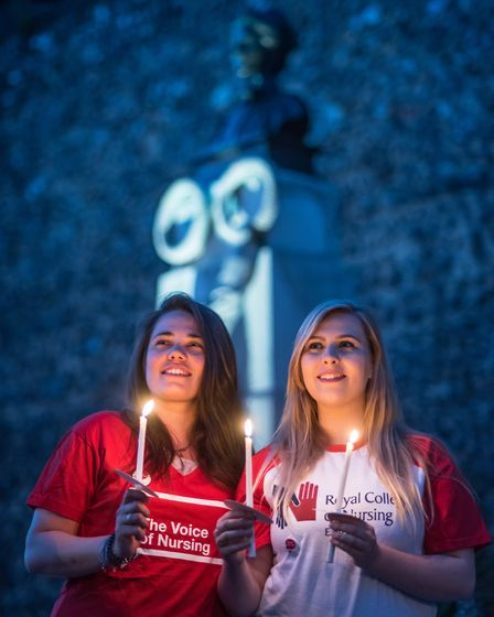 Student nurses Katie Harding and Beth Anscombe amongst Nurses, healthcare assistants and supporters