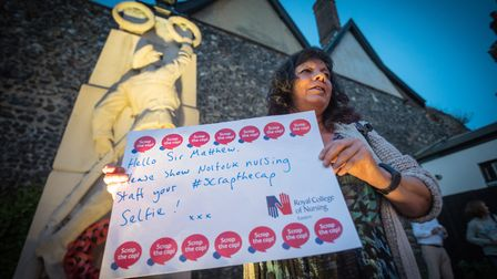 RCN regional officer Nikki Ward with her message. Nurses, healthcare assistants and supporters from