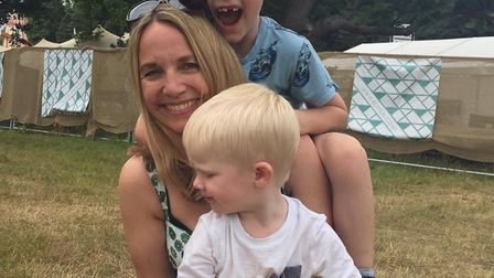 Lisa Green with son Olly and family friend Archie. Photo: Emily Revell.