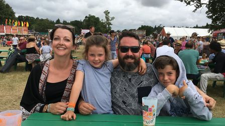 Julie Forder, Ivy Rosser, Andy Rosser and Murphy Rosser, from Old Catton, at Latitude Festival 2017.