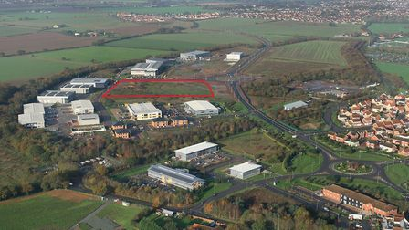 The red lined area shows where the new HQ will be built Picture: Mike Page