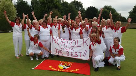 Norfolk celebrate their win over Leicestershire. Picture: Norfolk County Women's Bowls Association.