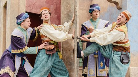 The Lord Chamberlain'�s Men in Shakespeare'�s The Comedy of Errors, at Norwich Cathedral. Picture:Ja