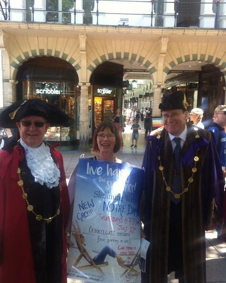 Mrs Hill with the Lord Mayor of Norwich, promoting her new slimmers' group. Photo: Morna Hill