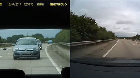 Dash cam image capturing a motorcyclist walking onto the fast lane on the A11. Photo: Geoffrey Hurre