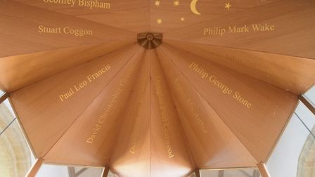 The names of the eleven who died in the helicopter crash in 2002 on the ceiling of the memorial porc