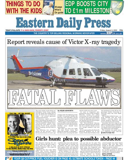 EDP front page on Friday 9th August 2002. Photo: Archant