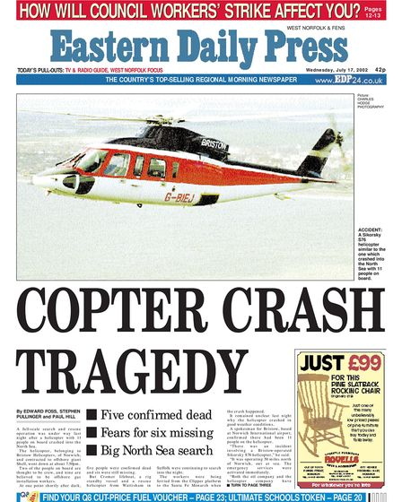 EDP front page on Wednesday 17th July 2002. Photo: Archant