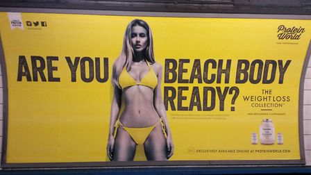 A Protein World advert displayed in an underground station in London in 2015 which drew criticism fo