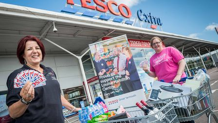 Louise Hamilton Centre appeal co-ordinator Maxine Taylor with Tesco community champion Hayley Cook.