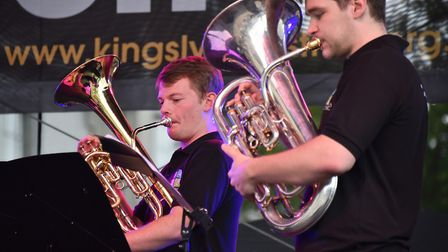 Music on the Market at Tuesday Market Place, part of the King's Lynn Festival. A4 Brass entertaining