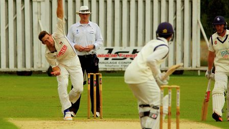 Norfolk all-rounder Rob Taylor in full flight on a frustrating final day at Manor Park. Picture: Tim