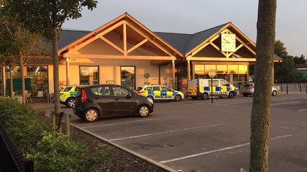Police at a supermarket in Wymondham where a man was involved in an altercation. Picture: Kathryn Cr
