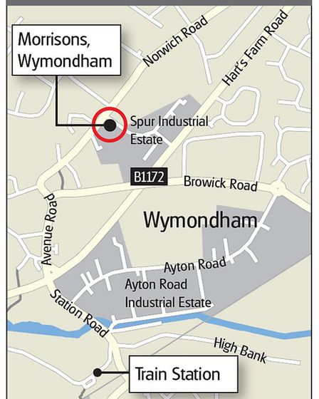 The location of the Morrisons store in Wymondham. Graphic: Archant.