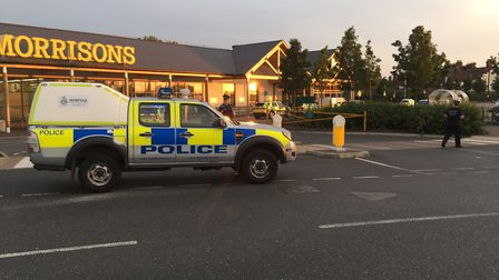 Police at a Wymondham supermarket where a man was involved in an altercation. Picture Kathryn Cross