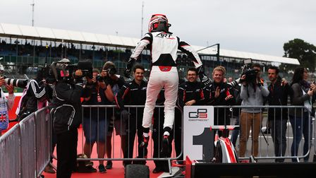 George Russell jumps for joy after his victory at Silverstone. Picture: Jakob Ebrey/GP3 Media Servic