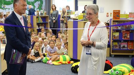 Connie Forsyth, Queen's Hill Primary School's first chairman of governors, unveils the school's new